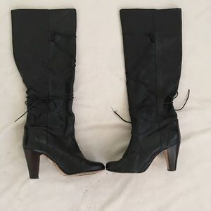 DOLCE VITA BLACK LEATHER SCRUNCHY KNEE BOOTS